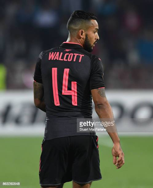 Theo Walcott of Arsenal during the UEFA Europa League group H match between Crvena Zvezda and Arsenal FC at Rajko Mitic Stadium on October 19 2017 in...