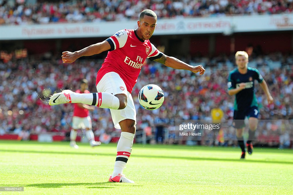 Theo Walcott of Arsenal in action during the Barclays Premier League match between Arsenal and Sunderland at Emirates Stadium on August 18 2012 in...