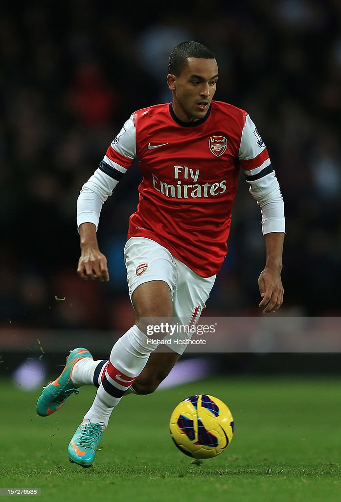Theo Walcott of Arsenal in action during the Barclays Premier League match between Arsenal and Swansea City at the Emirates Stadium on December 1, 2012 in London, England.