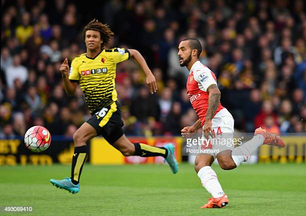 Theo Walcott of Arsenal in action during the Barclays Premier League match between Watford and Arsenal at Vicarage Road on October 17 2015 in Watford...
