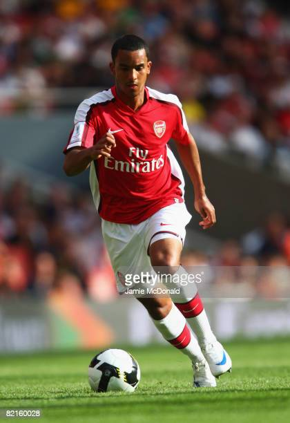 Theo Walcott of Arsenal in action during the preseason friendly match between Arsenal and Juventus during the Emirates Cup at the Emirates Stadium on...