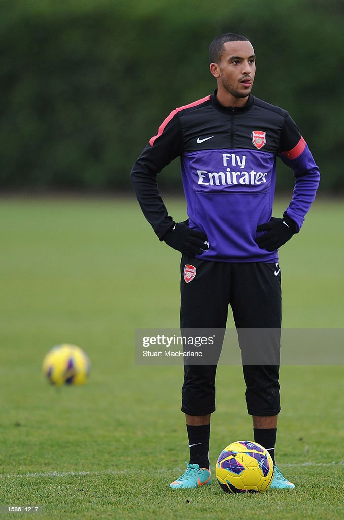 <a gi-track='captionPersonalityLinkClicked' href=/galleries/search?phrase=Theo+Walcott&family=editorial&specificpeople=451535 ng-click='$event.stopPropagation()'>Theo Walcott</a> of Arsenal looks on during a training session at London Colney on December 21, 2012 in St Albans, England.