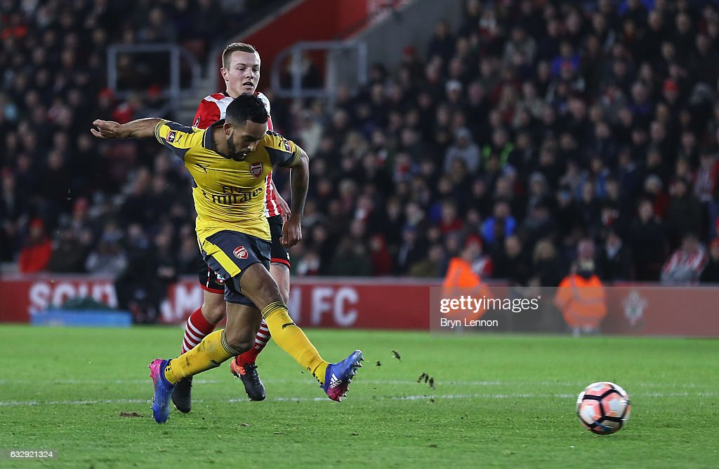 Theo Walcott of Arsenal scores his third and his sides fifth goal during the Emirates FA Cup Fourth Round match between Southampton and Arsenal at St Mary's Stadium on January 28, 2017 in Southampton, England.