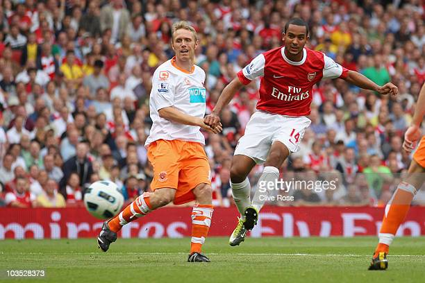 Theo Walcott of Arsenal scores his third goal for a hattrick during the Barclays Premier League match between Arsenal and Blackpool at The Emirates...