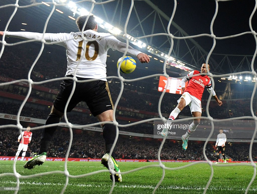 <a gi-track='captionPersonalityLinkClicked' href=/galleries/search?phrase=Theo+Walcott&family=editorial&specificpeople=451535 ng-click='$event.stopPropagation()'>Theo Walcott</a> of Arsenal sees his shot on goal blocked by Danny Graham of Swansea during the FA Cup Third Round Replay match between Arsenal and Swansea City at the Emirates Stadium on January 16, 2013 in London, England.