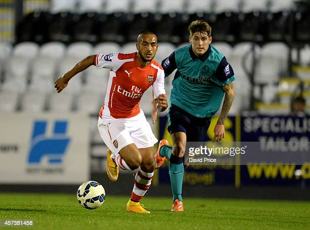 Theo Walcott of Arsenal takes on Connor Mahoney of Blackburn during the match between Arsenal U21 and Blackburn U21 in the Barclays Premier U21...