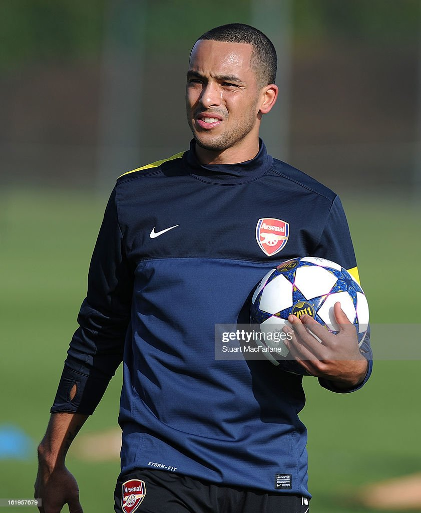 Theo Walcott of Arsenal takes part in a training session ahead of their UEFA Champions League match against FC Bayern Muenchen at London Colney on February 18, 2013 in St Albans, England.