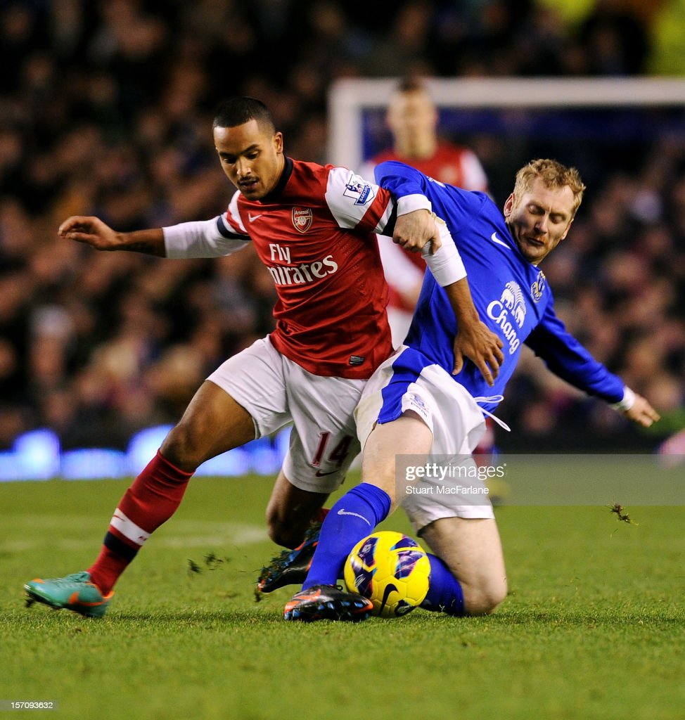 Theo Walcott of Arsenal Tony Hibbert of Everton during the Barclays Premier League match between Everton and Arsenal at Goodison Park on November 28, 2012 in Liverpool, England.