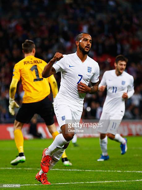 Theo Walcott of England celebrates scoring during the UEFA EURO 2016 Group E qualifying match between England and Estonia at Wembley on October 9...