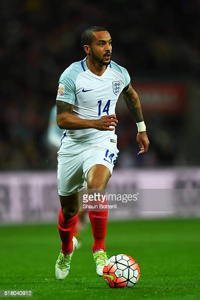 Theo Walcott of England controls the ball during the International Friendly match between England and Netherlands at Wembley Stadium on March 29 2016...