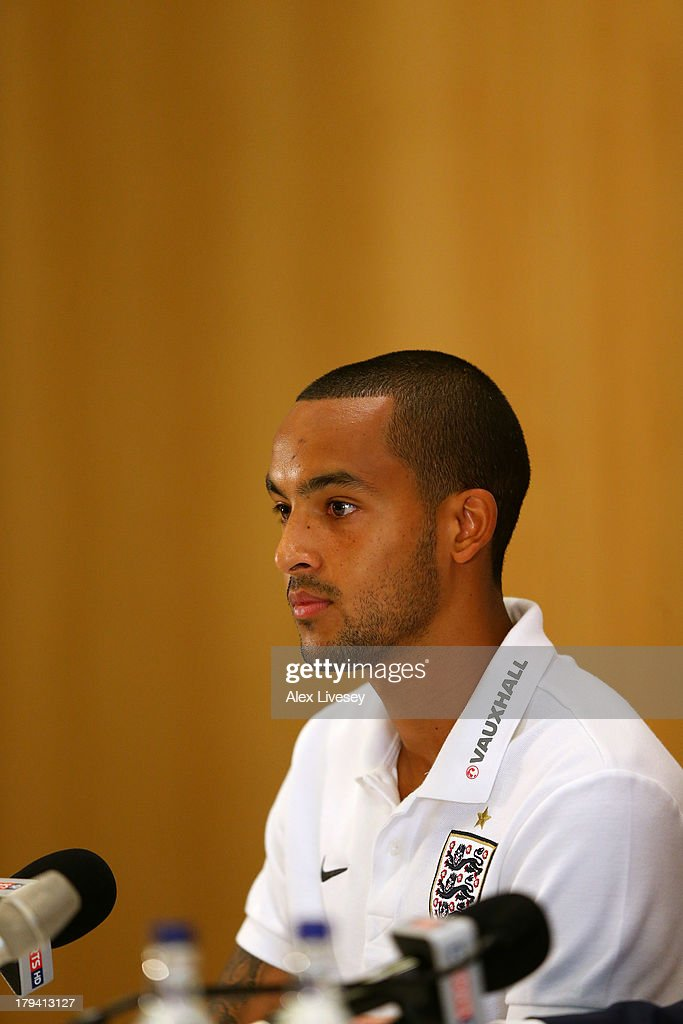 <a gi-track='captionPersonalityLinkClicked' href=/galleries/search?phrase=Theo+Walcott&family=editorial&specificpeople=451535 ng-click='$event.stopPropagation()'>Theo Walcott</a> of England faces the media during a press conference at St Georges Park on September 3, 2013 in Burton-upon-Trent, England.