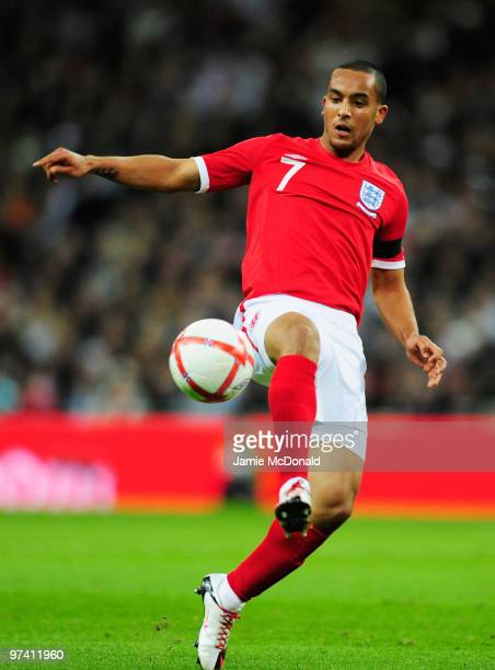 Theo Walcott of England in action during the International Friendly match between England and Egypt at Wembley Stadium on March 3 2010 in London...