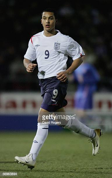 Theo Walcott of England moves forward during the under 19 International between England and Slovakia at The Sixfields Stadium on February 28 2006 in...