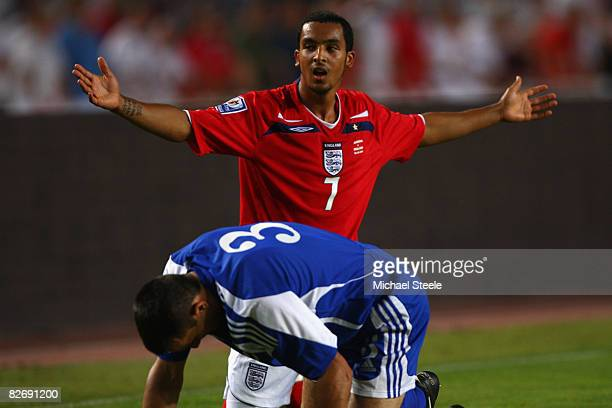 Theo Walcott of England protests to the referee after being obstructed by Txema of Andorra during the FIFA 2010 Group Six World Cup Qualifying match...