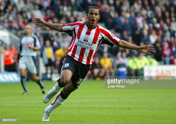 Theo Walcott of Southampton celebrates scoring a goal during the CocaCola Championship match between Southampton and Stoke City at St Mary's Stadium...