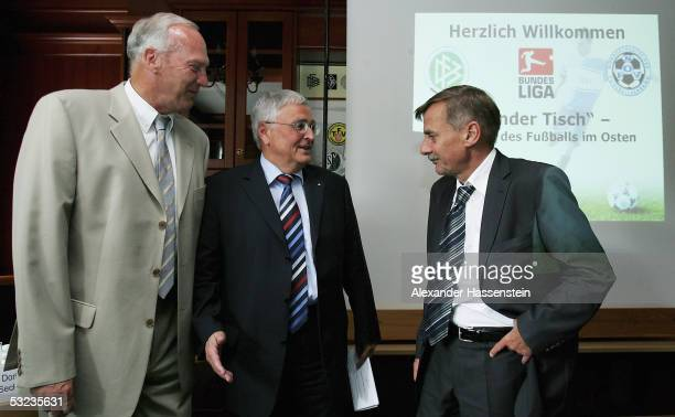 Theo Zwanziger executive president of the German Soccer Federation talks with Werner Hackmann president of the german soccer league and vice...