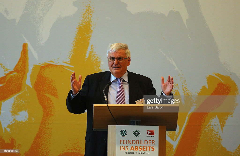 Theo Zwanziger president of German Football Association DFB holds a speech during the DFB security congress at Steigenberger Airport Hotel on January...