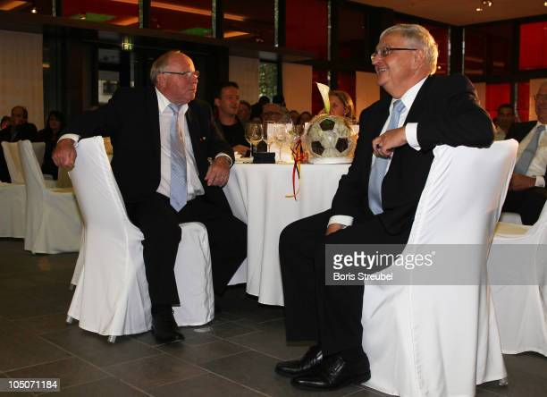 Theo Zwanziger president of the German Football Association and Uwe Seeler attend the DFB Award Club 100 at Hotel InterContinental on October 8 2010...