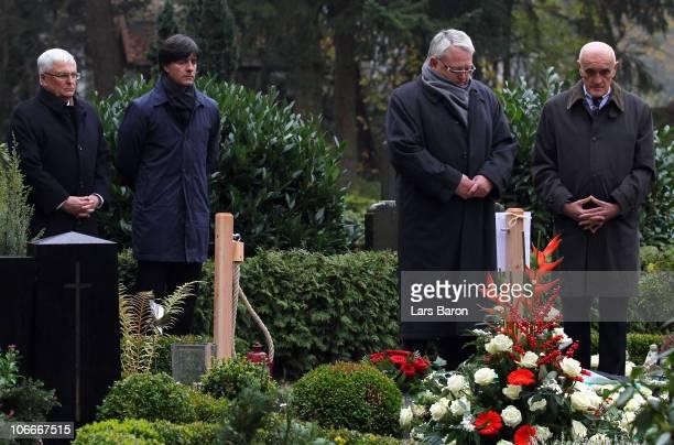 Theo Zwanziger president of the German Football Association is seen in silence next to Joachim Loew headcoach of German national football team Fritz...