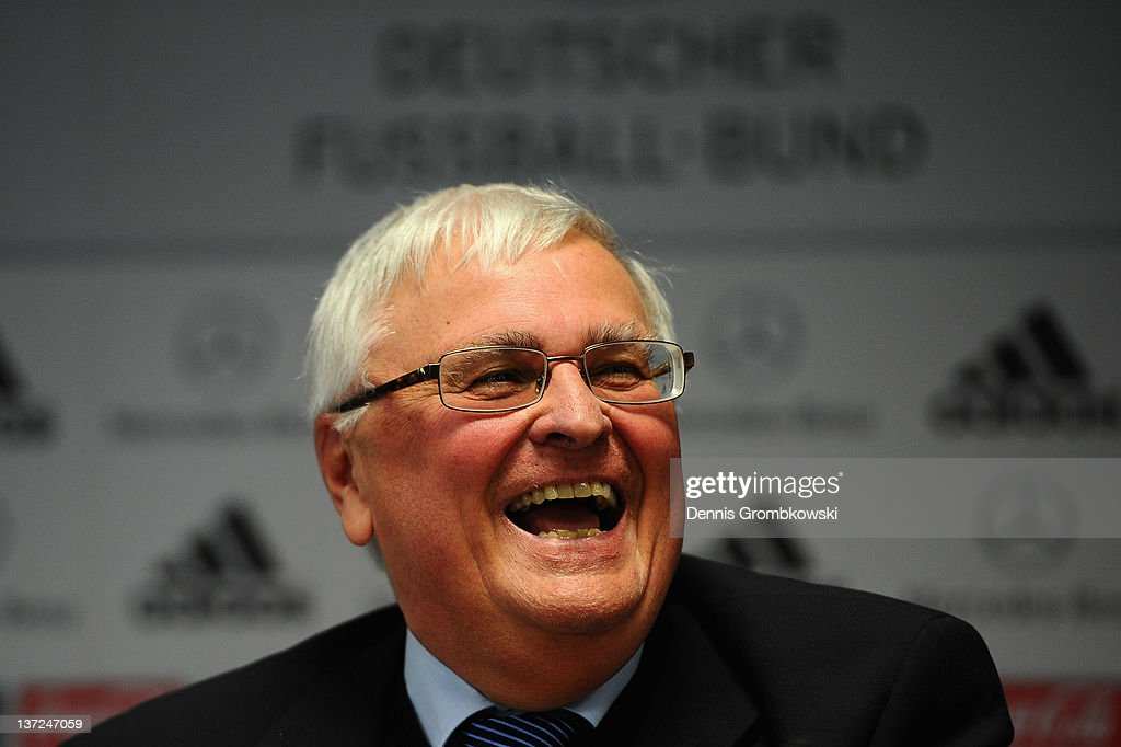 Theo Zwanziger, president of the German Football Federation DFB smile during a press conference at the DFB Dialog Forum 'Vor dem Ball sind alle gleich - Sexuelle Identitaeten im Fussball' about sexual identities in football at Sportschule Hennef on January 17, 2012 in Hennef, Germany.