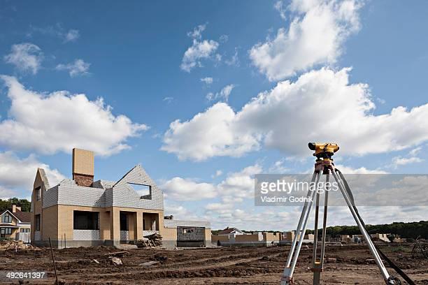 Theodolite on construction site