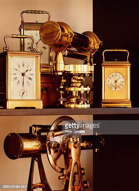 Theodolites and carriage clocks, close-up