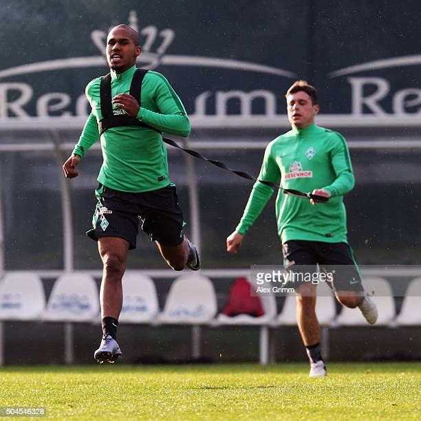 Theodor Gebre Selassie and Zlatko Junuzovic exercise during a Werder Bremen training session on day 6 of the Bundesliga Belek training camps at...