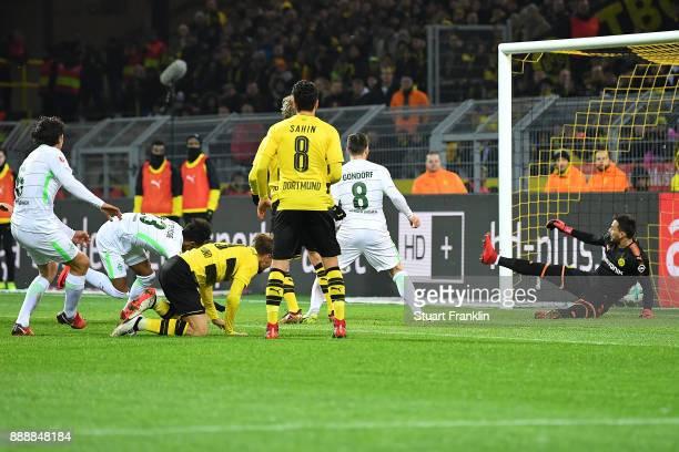 Theodor Gebre Selassie of Bremen scores a goal to make it 12 during the Bundesliga match between Borussia Dortmund and SV Werder Bremen at Signal...