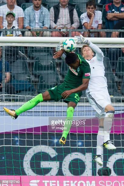 Theodor Gebre Selassie of Bremen und Goalkeeper Christian Fruechtl of Bayern Muenchen battle for the ball during the Telekom Cup 2017 Final between...