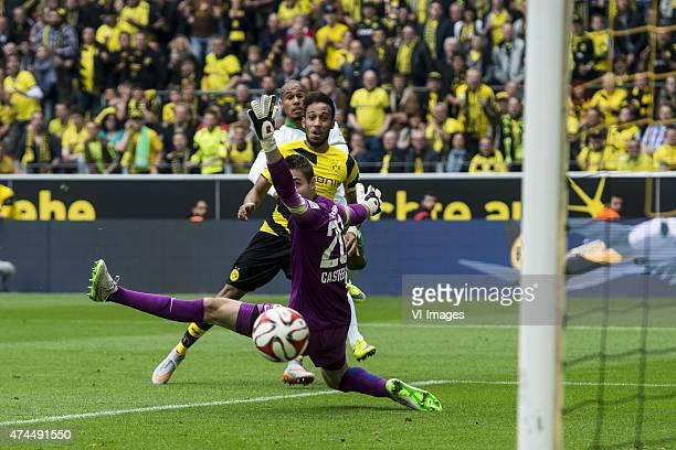 Theodor Gebre Selassie of Werder Bremen PierreEmerick Aubameyang of Borussia Dortmund goalkeeper Koen Casteels of Werder Bremen during the Bundesliga...
