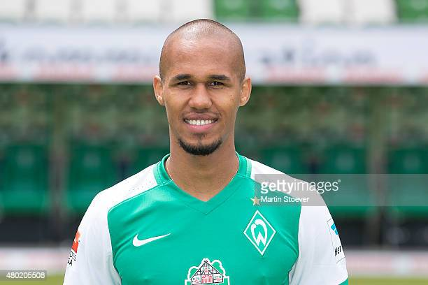 Theodor Gebre Selassie poses during the official team presentation of Werder Bremen at Weserstadion on July 10 2015 in Bremen Germany