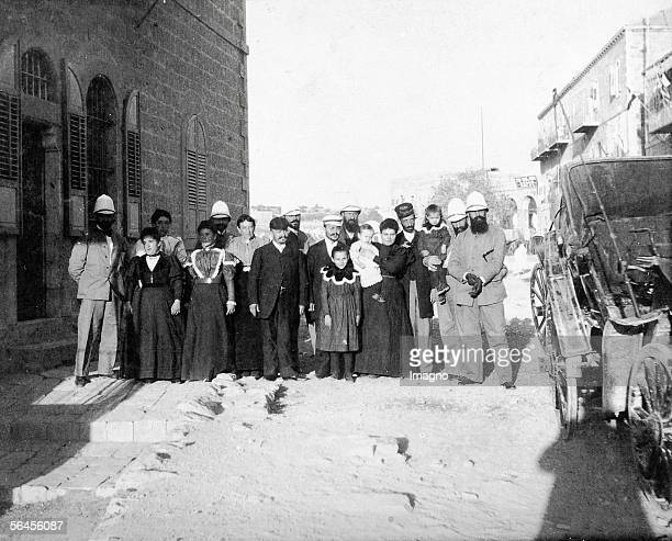 Theodor Herzl and his companisons in Jerusalem with the Jewish Marx family in their house in Mamillah Road Photography 1898 [Theodor Herzl und seine...