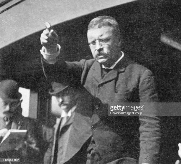 Theodore Roosevelt addressing a meeting in New York State Roosevelt became 26th president of USA after the assassination of McKinley in September 1901