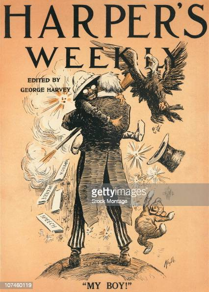 Theodore Roosevelt is shown hugging Uncle Sam in an illustration on the cover of Harper's Weekly issue of June 18 1910 A small happy looking bear...