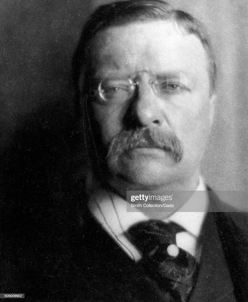 Theodore Roosevelt portrait, taken at the White House, April, 1907. From the New York Public Library. (Photo by Smith Collection/Gado/Getty Images).