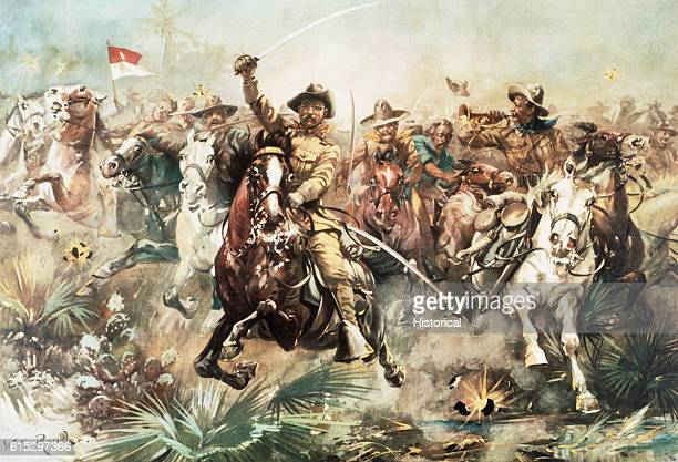 Theodore Roosevelt who later became the 26th president of the United States leading the Rough Riders cavalry regiment which was victorious at the...