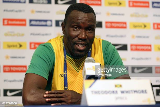Theodore Whitmore coach of Jamaica speaks during the Jamaica National Team Press Conference prior to the final match against United States at Levi's...