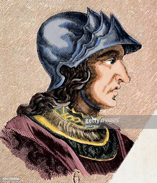 Theodoric II Was the eight of Visigoths from 543 to 466 Engraving Colored