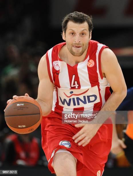 Theodoros Papaloukas #4 of Olympiacos Piraeus in action during the Euroleague Basketball Semifinal 2 between Partizan Belgrade vs Olympiacos Piraeus...