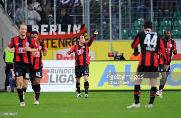 Theofanis Gekas of Berlin celebrates after scoring his team's third goal during the Bundesliga match between VfL Wolfsburg and Hertha BSC Berlin at...