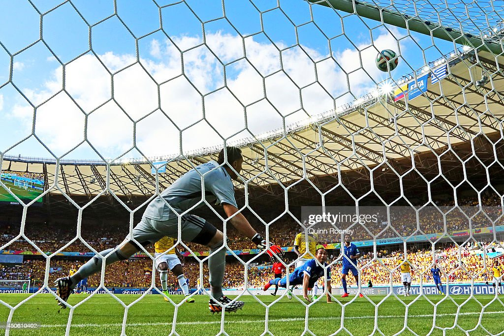 Theofanis Gekas of Greece directs a header on goal and hits the crossbar during the 2014 FIFA World Cup Brazil Group C match between Colombia and Greece at Estadio Mineirao on June 14, 2014 in Belo Horizonte, Brazil.