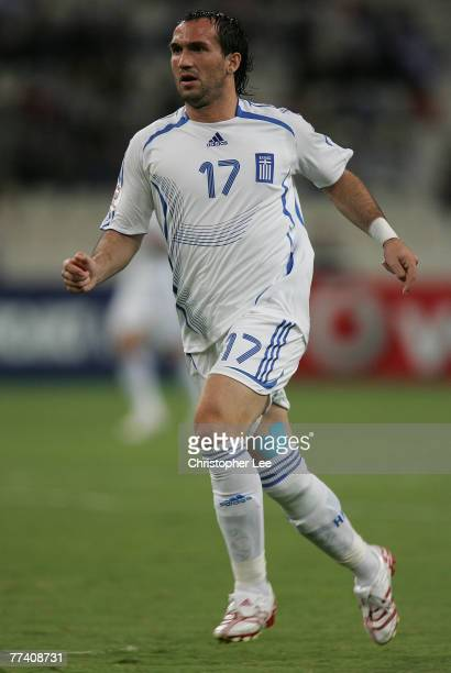 Theofanis Gekas of Greece in action during the Euro 2008 Group C Qualifying match between Greece and Bosnia Herzegovina at the Olympic Stadium on...
