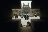Theology students talking in the courtyard of Feyzieh seminary in the holy city of Qom Iran 1st February 1986
