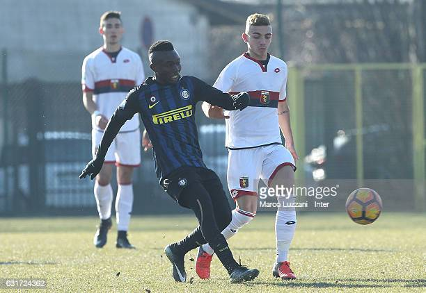 Theophilus Awua of FC Internazionale Milano in action during the Primavera Tim juvenile match between FC Internazionale and Genoa CFC at Stadio Breda...