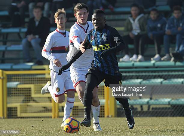 Theophilus Awua of FC Internazionale Milano is challenged during the Primavera Tim juvenile match between FC Internazionale and Genoa CFC at Stadio...