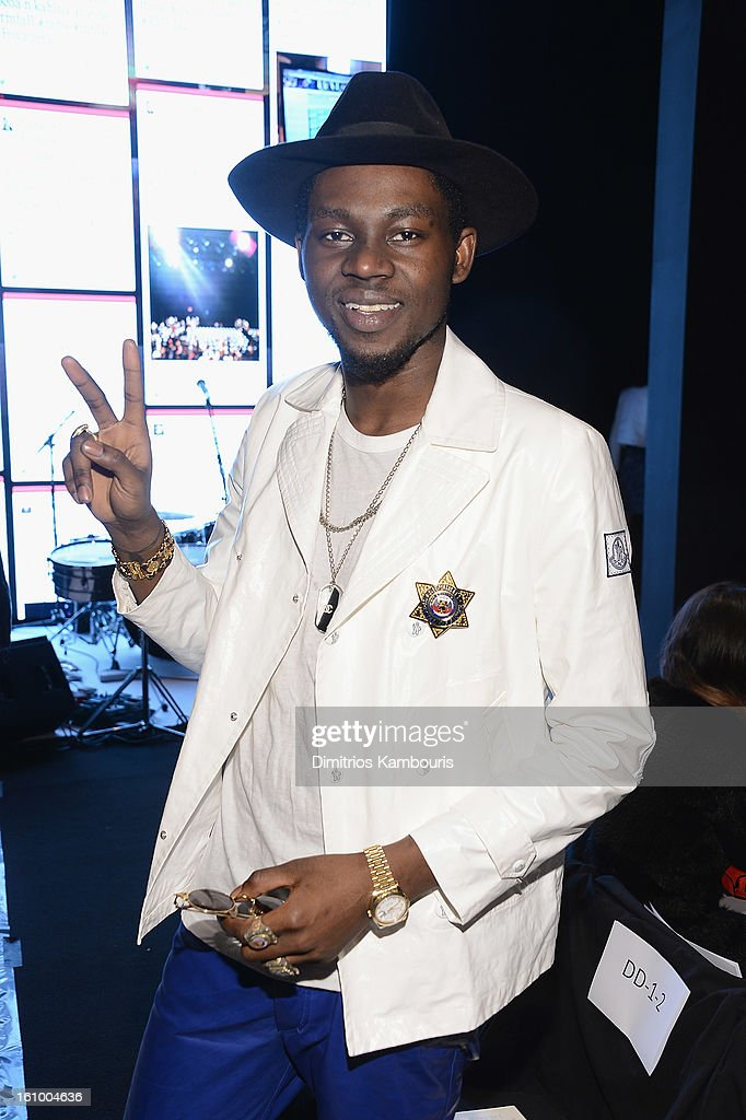 <a gi-track='captionPersonalityLinkClicked' href=/galleries/search?phrase=Theophilus+London&family=editorial&specificpeople=5770992 ng-click='$event.stopPropagation()'>Theophilus London</a> attends Rebecca Minkoff during Fall 2013 Mercedes-Benz Fashion Week at The Theatre at Lincoln Center on February 8, 2013 in New York City.