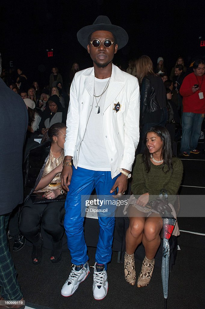 <a gi-track='captionPersonalityLinkClicked' href=/galleries/search?phrase=Theophilus+London&family=editorial&specificpeople=5770992 ng-click='$event.stopPropagation()'>Theophilus London</a> attends the Rebecca Minkoff Fall 2013 Mercedes-Benz Fashion Show at The Theater at Lincoln Center on February 8, 2013 in New York City.
