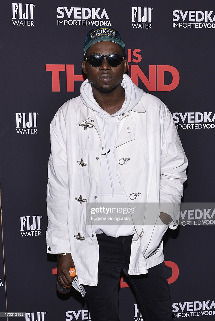 <a gi-track='captionPersonalityLinkClicked' href=/galleries/search?phrase=Theophilus+London&family=editorial&specificpeople=5770992 ng-click='$event.stopPropagation()'>Theophilus London</a> attends 'This Is The End' New York Premiere at Landmark's Sunshine Cinema on June 10, 2013 in New York City.