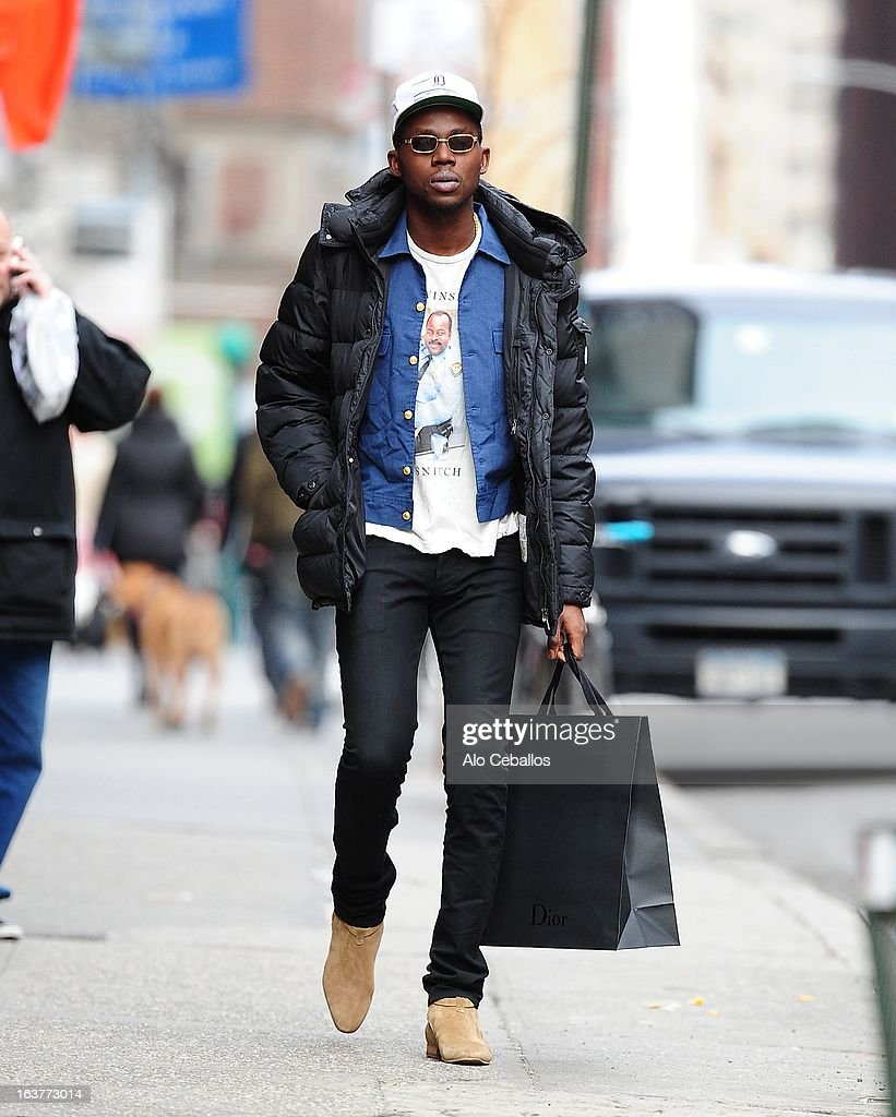<a gi-track='captionPersonalityLinkClicked' href=/galleries/search?phrase=Theophilus+London&family=editorial&specificpeople=5770992 ng-click='$event.stopPropagation()'>Theophilus London</a> is seen in Soho on March 15, 2013 in New York City.