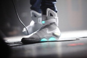 Theophilus London wears Nike MAG 'Back to the Future' sneakers during his performance onstage at Terminal 5 on October 26 2011 in New York City